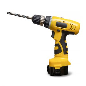 Drill Isolate. Yellow Drill. Drill On A White Background. Constr